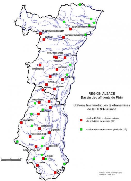 Carte Alsace Sundgau.Le Reseau Hydrographique Alsacien Aprona